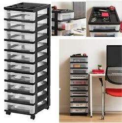 Plastic Storage 10 Drawer Rolling Cart Organizer Top For Office Home Classroom