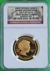2015 W Mamie Eisenhower First Spouse 1/2 Oz 99.9 Pure Gold Ngc Pf69 Ucam Rare