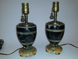 Pair Small Antique Art Deco Marble And Bronze Lamps