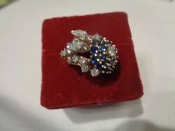 Art Deco 18kt Yellow Gold 16 Diamond 17 Blue Spinel Cocktail Cluster Ladies Ring