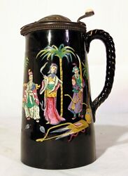 Large Antique Black Gold Chinoiserie English Tankard Pitcher Jetware Pewter Lid