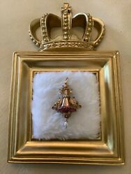Antique Victorian 14k Gold Dangle Pendant Fish Dolphin Seed Pearls Ruby