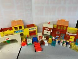 Vintage Toy Set Fisher Price Theater Post Office Firehouse Play Family Village