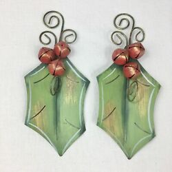 2 Metal Holly Ornaments Christmas Decorations Jingle Bells Country Farmhouse