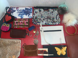 LARGE LOT OF PURSE ACCESSORIES WALLETS Fobs Makeup Bags Straps $39.99