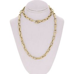 14k Yellow Gold Handmade Fashion Rectangle Link Necklace 29 5.6mm 48.7 Grams