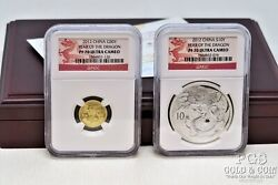 2012 China 1/10 Oz Gold, 1 Oz Silver Proof Coins Ngc Pf 70 Wcoa And Box 20546
