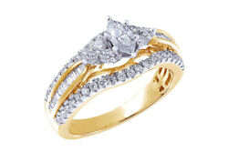 1 Cttw Diamond Marquise Engagement Ring In 14k Yellow Gold