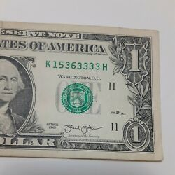 Solid Trailing Quad 3333 1 Bill Serial Number K 1536-3333h Five Of A Kind A29