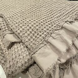 INUP HOME Gray Coverlet Queen Cottage Chic Portugal EUC