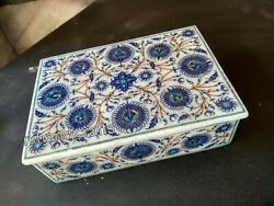 7 X 5 Inches Marble Inlay Bed Side Box With Floral Pattern Jewelry Box For Gift