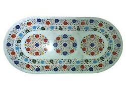 30 X 60 Inches Marble Garden Table Top Gemstones Dining Table From Cottage Craft