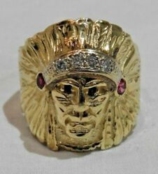 14k Gold Native American Indian Chief W/ Diamonds, Rubies And Sapphires Ring Sz 11
