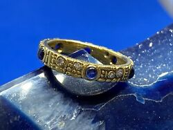 Alex Sepkus Carved 18k Yellow Gold Diamond And Blue Sapphire Band Ring Size 6.25