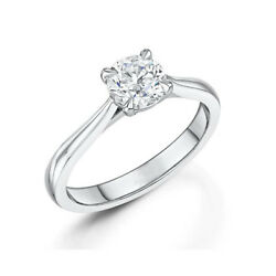 Round Cut 0.50 Ct Real Diamond Wedding Ring For Bride 14k Solid White Gold 7 8 9
