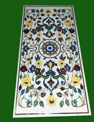 24 X 48 Inches Marble Kitchen Table Top Semi Precious Stones Art Dinette Table