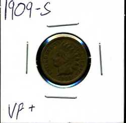 1909-s 1c Indian Head Cent In Vf+ Condition 04459