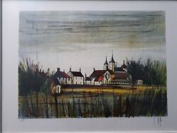 Bernard Buffet Style V Beffa Lithograph The Village Hand Signed Numbered.