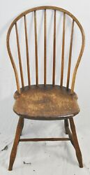 Antique Benchmade Bow Back Oak Windsor Chair Williamsburg Style