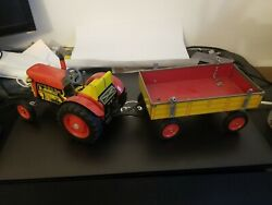 Vintage Schylling Tractor And Trailer Wind Up Tin Toy In Box No Key