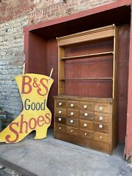 Antique 1880s Country Store Apothecary Cabinet Farmhouse Kitchen Multi Drawer