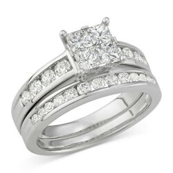 1 1/5 Cttw Diamond Quad Bridal Set Ring In 14k Yellow Gold Over Sterling Silver