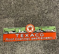 Vintage Style Heavy Porcelain Texaco Roof Coatings And Cements Sign. 5 X 16