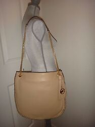 Michael Kors Whipped Chelsea Women#x27;s LG MK Shoulder Bag Tote Bisque Leather Gold $169.99
