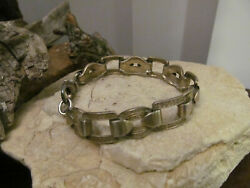 Vintage Sterling Silver 925 Watch Band Style Linked Textured Bracelet 27.2g