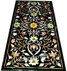 30 X 60 Inches Floral Pattern Inlaid Dining Table Marble Conference Table Top