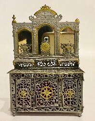 Remarkable Ornate Soft Metal Toy19th Century German Doll House Dresser Sideboard