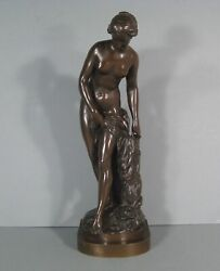 Bather Nymph Naked Woman Sculpture Bronze Antique Falconet Reduction Priyam