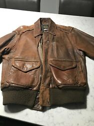 Avirex Weathered Leather Flight Jacket A2 Size 42 Mid 1980and039s