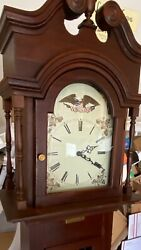 Antique Victorian Clock Southern Grandmother Grandfather Eagle Flag Wood Chimes