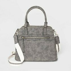 VR NYC Zip Closure Convertible Satchel Handbag with Webbing Straps Gray $17.00