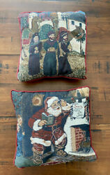 Vintage Tapestry Fabric Christmas Pillows Santa Coca Cola And 3 Wisemen Camels