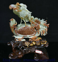 18 Chinese Natural Xiu Jade Hand-carved Feng Shui Crane Dragon Turtle Statue