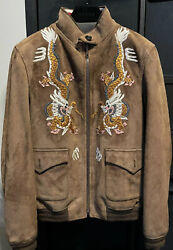 Suede Embroidered Dragon Bomber Jacket Sold Out Size It 48 Or Us Medium