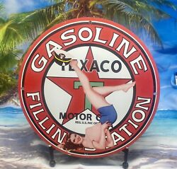 Vintage Texaco Gasoline Porcelain Gas Pin Up Airplane Service Aviation Sign