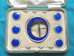 Antique Sterling Silver Guilloche Enamel Belt Buckle And Buttons Set 1910 - Box