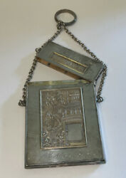 Victorian 1876 Silver Plated Chatelaine Dance Card Coin Finger Purse Ring Chain