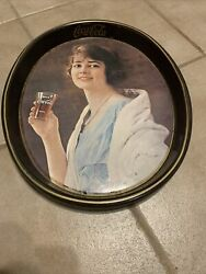 Coca Cola Advertising Oval Serving Tray 1970's Vintage Lady Coke 70's
