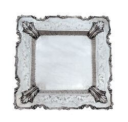 Fine Italian 925 Sterling Silver Hand Chased Large Leaf Square Plate / Tray
