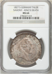 Germany States Saxony 1827 S Death Taler Coin Ngc Ms64 Thaler Deutsch - Toning