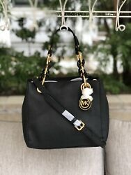 MICHAEL KORS CYNTHIA BLACK SAFFIANO LEATHER CROSSBODY SATCHEL BAG NWOT $98.00