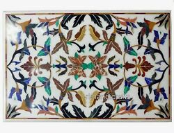 30 X 48 Inches Marble Hallway Table Top Multi Color Stones Art Dining Table Top
