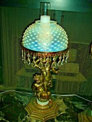 Fenton French Hobnail Opalescent Cherub Lamp, Rare And Old