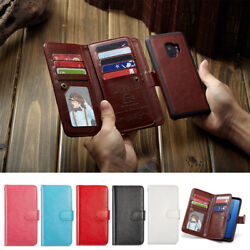 Card Slot Case Removable Leather Magnetic Wallet Cover For Samsung Galaxy Phones