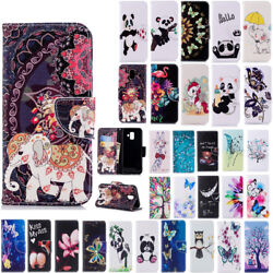 For Samsung J4 J6 A6plus 2018 Painted Wallet Leather Case Flip Stand Case Cover