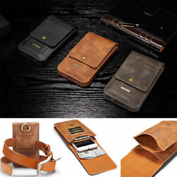 6.5 Universal Phone Leather Belt Clip Wallet Pouch Bag Card Holder Case Cover